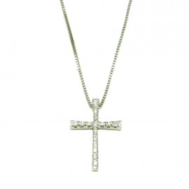 White gold cross K18 with round brilliant 0,10ct Chain length 40cm