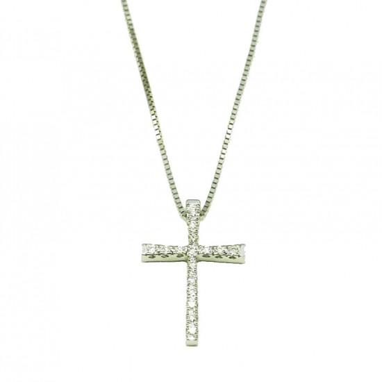 Σταυρός λευκόχρυσος Κ18 με διαμάντια κοπής μπριγιάν 0,10ct Μήκος καδένας 40cm