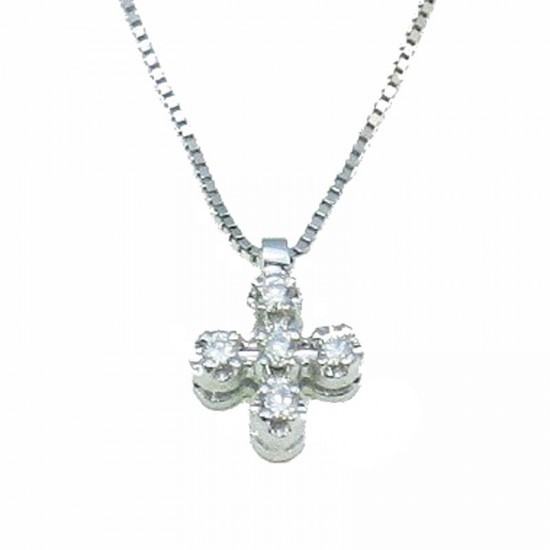 White gold cross K18 with round brilliant 0,10ct. Chain length 40cm