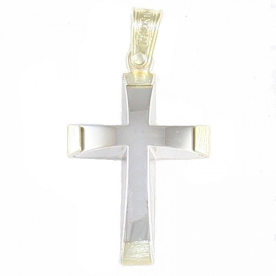 Cross K14 two-tone gold at the edges and white in the middle for christening or engagement 31043