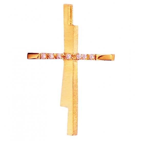 Cross K14 in rose gold with white zircon and the body of the cross is rough for baptism or engagement 2841