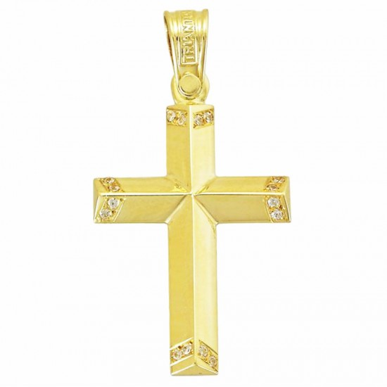 Cross K14 gold polished with white zircon on the edges for christening or engagement 3941