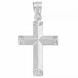Cross K14 white gold with white zircon on the edges 37541