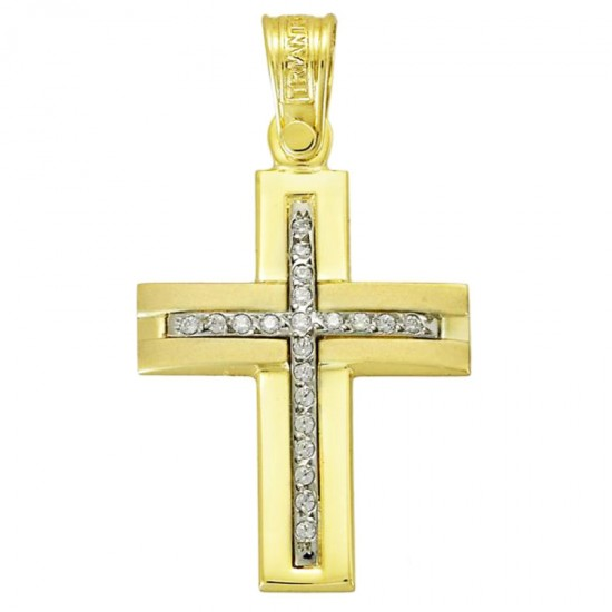 Cross K14 gold polished and matte with white zircon for christening or engagement 3041