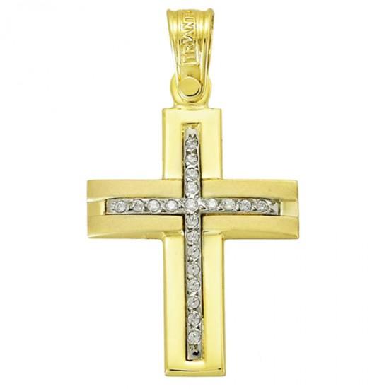 Σταυρός Κ14 χρυσός λουστραριστός και ματ με λευκά ζιργκόν 3041