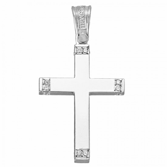 Cross white gold K14 polished with white zircon on the edges 46141