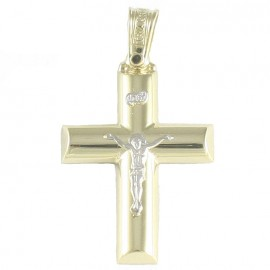 Cross K14 gold polished with the Crucified in white gold 2735