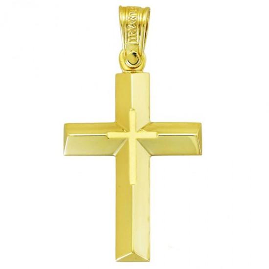 Σταυρός Κ14 χρυσός λουστραριστός και ματ 34236