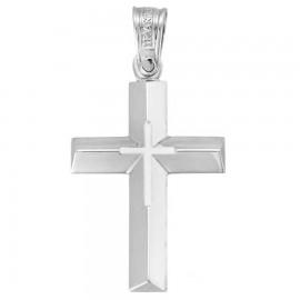 Σταυρός Κ14 λευκόχρυσος λουστραριστός και ματ 33236