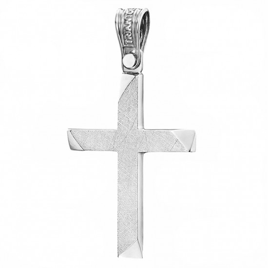 Cross K14 white gold polished and rough on the face 4136