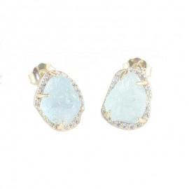 Σκουλαρίκια χρυσά Κ14 με λευκά ζιργκόν και φυσική πέτρα aquamarine 17887