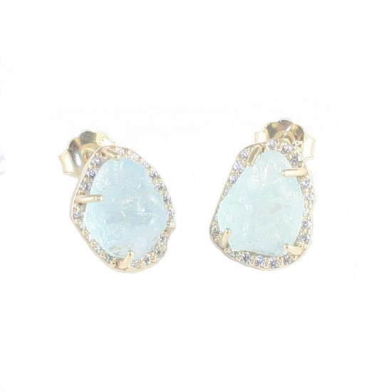 Gold earrings K14 with white zircon and natural aquamarine stone 17887