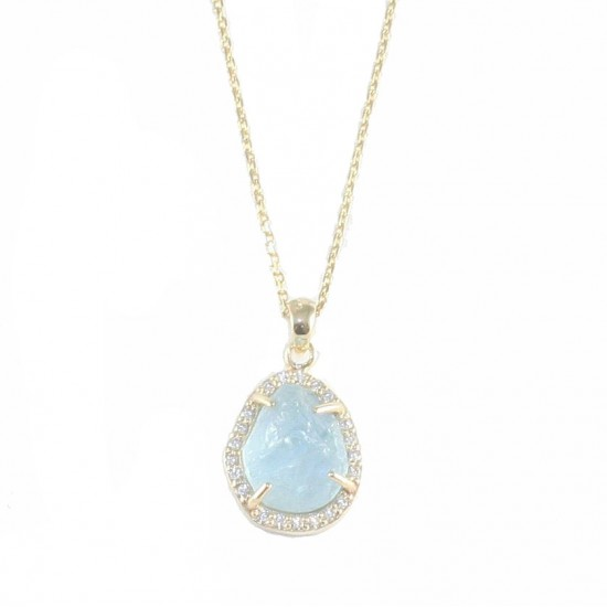 Gold necklace K14 with white zircon and natural stone aquamarine 17885