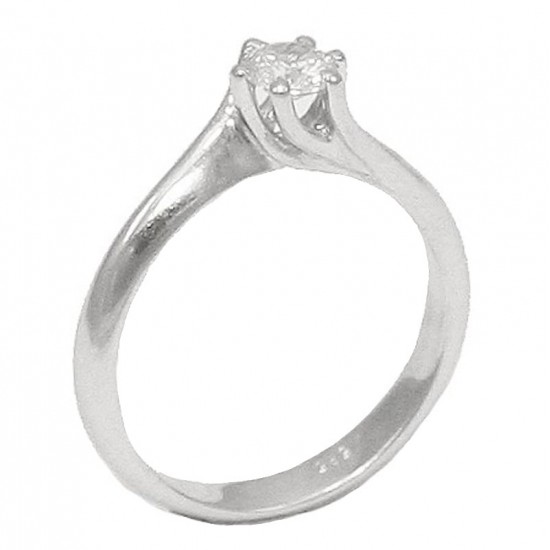 Δαχτυλίδι μονόπετρο λευκόχρυσο Κ14 με σχέδιο φλόγας και λευκό ζιργκόν 3027