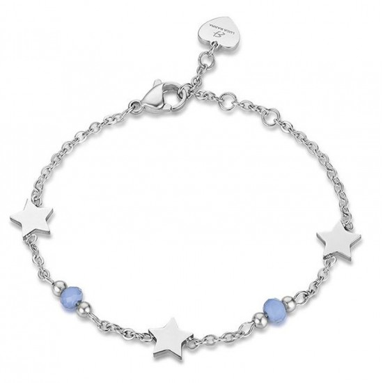 Stainless steel foot chain with stars and blue crystals Strap length 25cm CV101