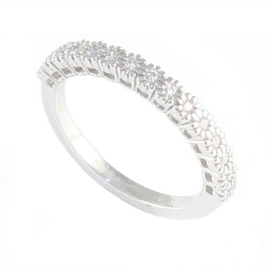 Δαχτυλίδι λευκόχρυσο Κ14 μισόβερο με λευκά ζιργκόν 27525