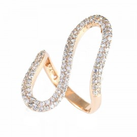 Silver ring rose gold plated with white zircon No. 55