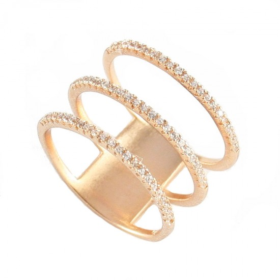 Silver ring rose gold plated with white zircon No. 58