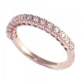 Rose gold ring K14 half board with white zircon 26524