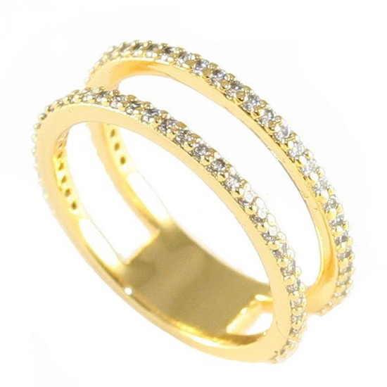 Sterling silver ring double all-around gold plated with white zircons Νο. 55