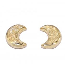 Σκουλαρίκια χρυσά Κ14 με σχέδιο το φεγγάρι σφυρίλατα και λουστραριστά