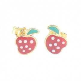 Children's earrings gold 14K with strawberries design with enamel