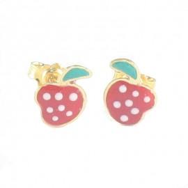 Παιδικά σκουλαρίκια χρυσά 14Κ με σχέδιο φράουλες με σμάλτο