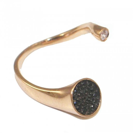 Rose Gold ring K14 with white and black zircons