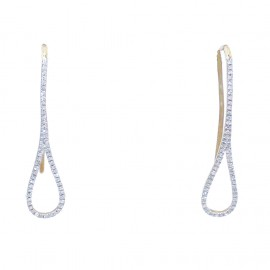 Gold earrings K14 with white diamonds 0.18ct
