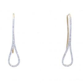 Σκουλαρίκια χρυσά Κ14 και λευκά διαμάντια 0,18ct