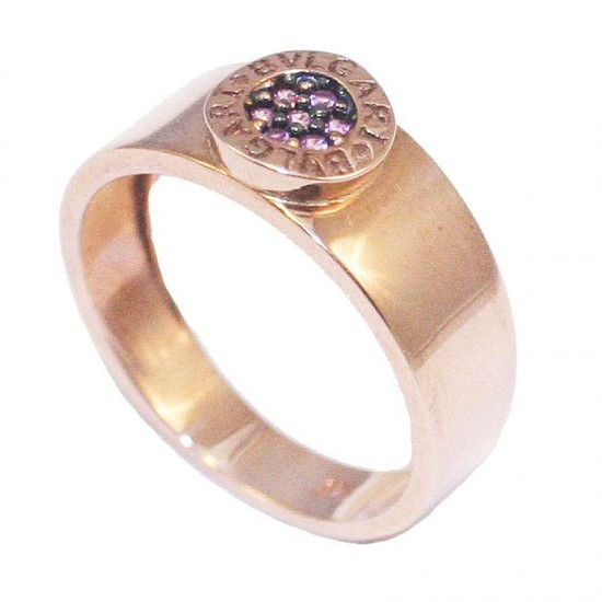 Rose Gold ring K9 with black platinum and amethyst colour zircons No. 54