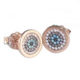Σκουλαρίκια ροζ χρυσό Κ9 μαύρη πλατίνα και λευκά ζιργκόν
