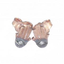 Σκουλαρίκια ροζ χρυσό Κ9 το χέρι της καλής τύχης με μαύρη πλατίνα και λευκά ζιργκόν