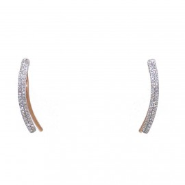 Rose Gold earrings K14 and white diamonds 0,14ct