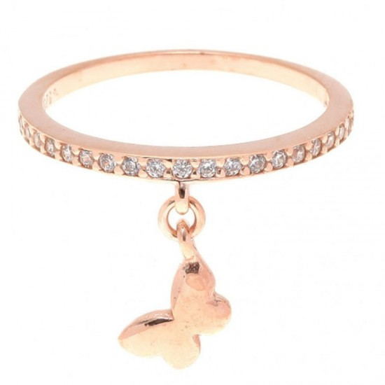 Δαχτυλίδι ασημένιο με πεταλούδα κρεμαστή με ροζ επιχρύσωμα και λευκά ζιργκόν 31603