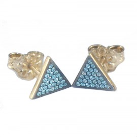 Gold earrings with design triangles K9 black platinum and petrol zircon