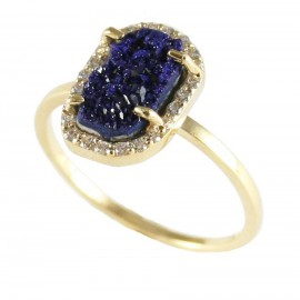 Gold K14 ring with Azurite mineral stone and white zircon  17777