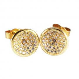 Sterling silver round gold plated earrings with white zircon S1813