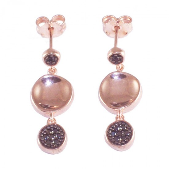 Sterling silver earrings with round motif pebbles with rose gold plating and black zircon 35270