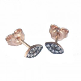 Rose gold earrings with eye design K9 black platinum and white zircon