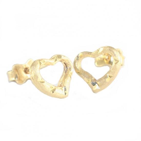 Σκουλαρίκια χρυσά Κ14 σατινέ και σφυρίλατα με σχέδιο καρδιάς