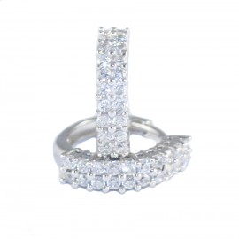 Earrings rings K18 white gold with white zircon U24024