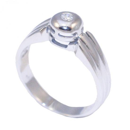 Δαχτυλίδι μονόπετρο λευκόχρυσο Κ18 βάρους 5,96gr με μπριγιάν 0,07ct. No. 61
