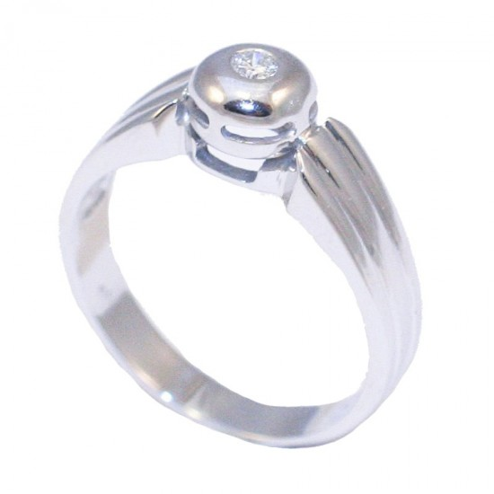 White-gold wedding ring 18K total weight 5,96gr and round brilliant cut natural diamond 0,07ct