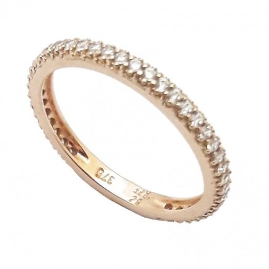 Δαχτυλίδι ολόβερο ροζ χρυσό Κ9 με λευκά ζιργκόν Νο. 53