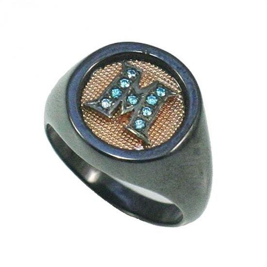 Δαχτυλίδι Chevalier ροζ χρυσό Κ9 σχέδιο κεραμικό σώμα και μπλέ ζιργκόν Νο. 54