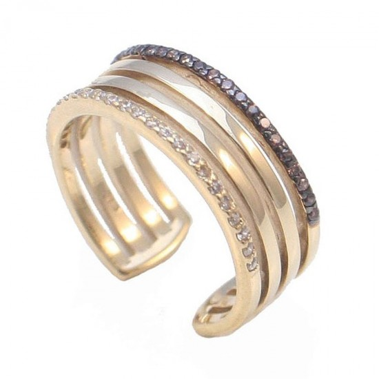 Gold ring K9 with white and brown zircon and black platinum No.57