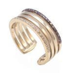 Δαχτυλίδι χρυσό με λευκά και καφέ ζιργκόν 475475