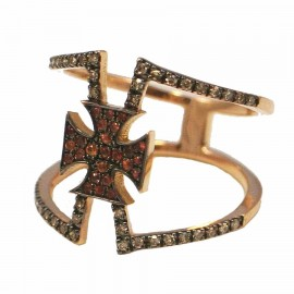 Rose gold ring K18 with Maltese Cross with white diamonds 0,20ct red zircon and black platinum No.56