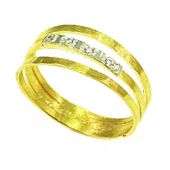 Gold ring handmade K14 with white zircons Νο. 55